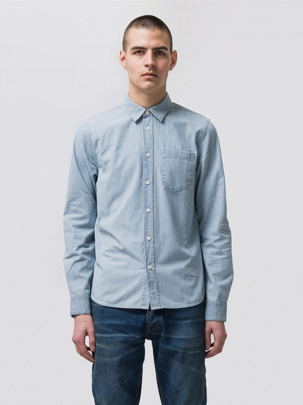 Henry Chambray Indigo long-sleeved shirts