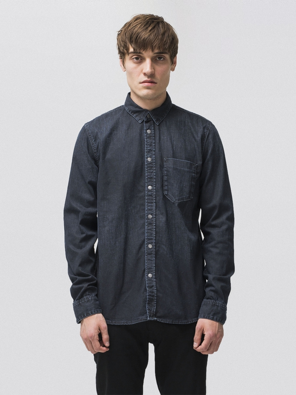 Henry Deep Blue Black Denim long-sleeved shirts denim