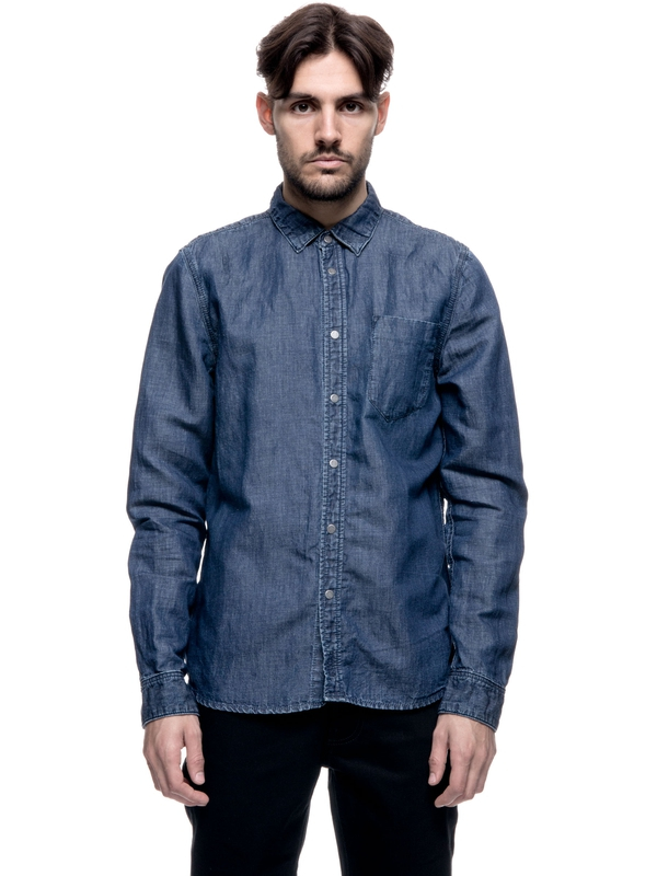 Henry Linen Blend Indigo long-sleeved shirts