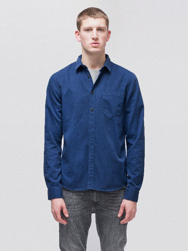 Henry Pigment Dyed Oden Blue long-sleeved shirts