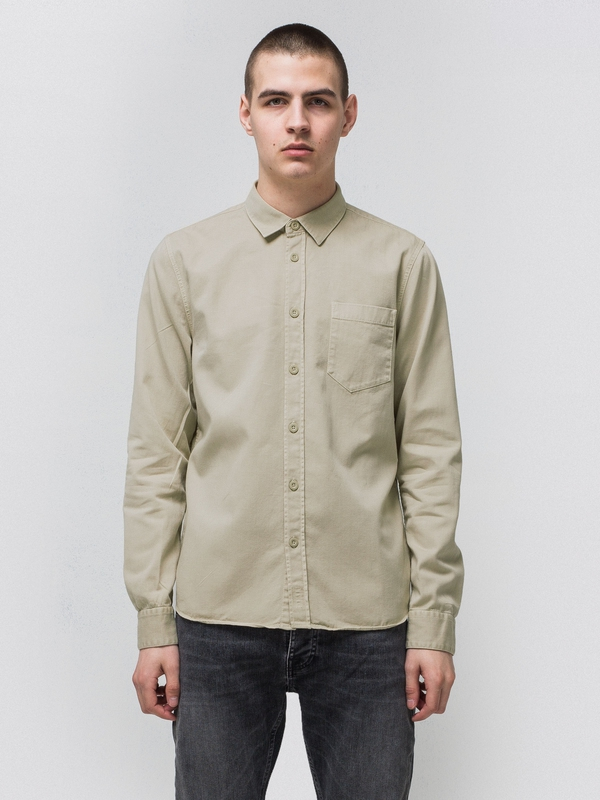 Henry Pigment Dyed Sand long-sleeved shirts