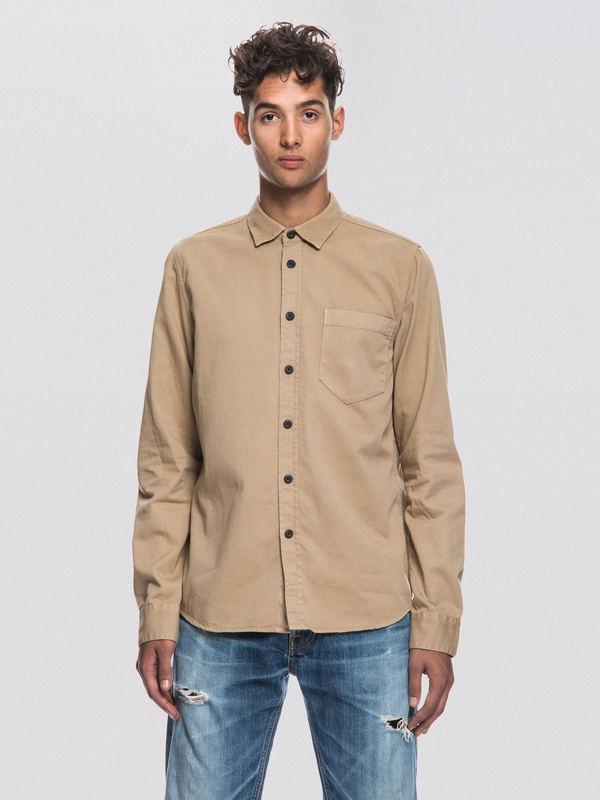 Henry Pigment Dyed Beige long-sleeved shirts