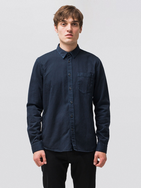 Henry Pigment Dyed Navy long-sleeved shirts