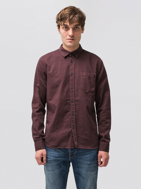 Henry Pigment Dyed Plum shirts