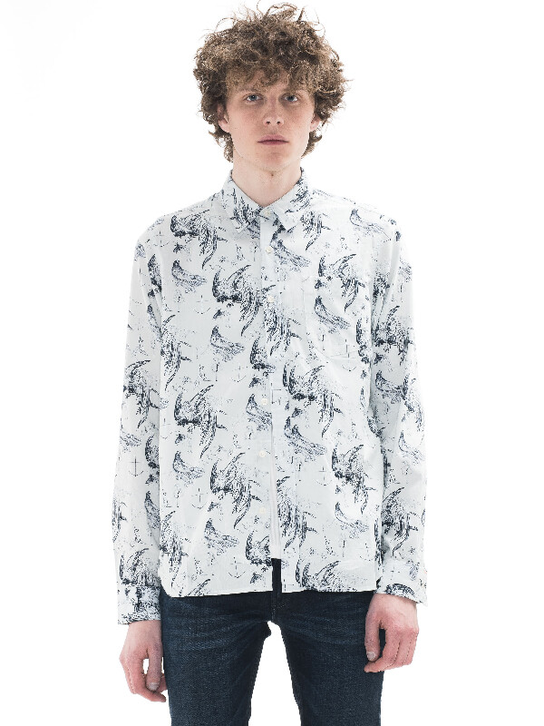 Henry Sketch Print Offwhite/Navy shirts