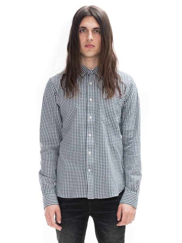 Henry Two Tone Twill Check Navy shirts