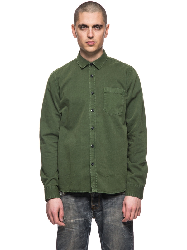 Henry Pigment Dyed Grass long-sleeved shirts