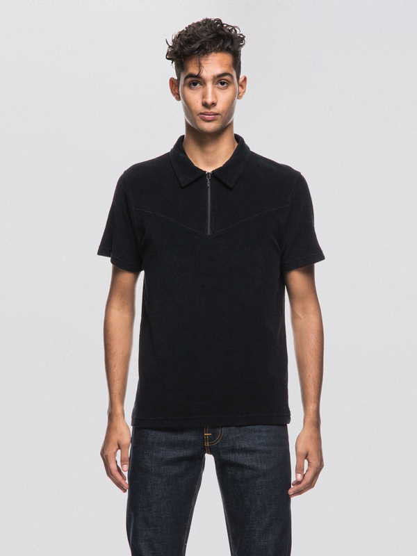 Kjell Terry Polo Shirt Black short-sleeved tees printed