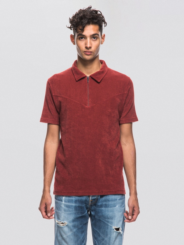 Kjell Terry Polo Shirt Mantle Red short-sleeved tees printed