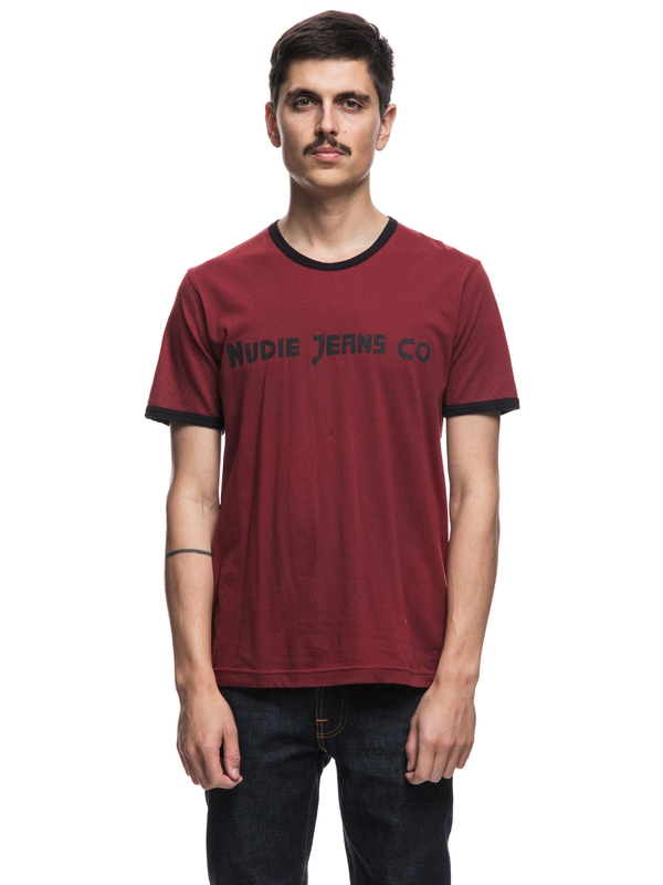 Kurt Contrast Piping Mantle Red short-sleeved tees printed