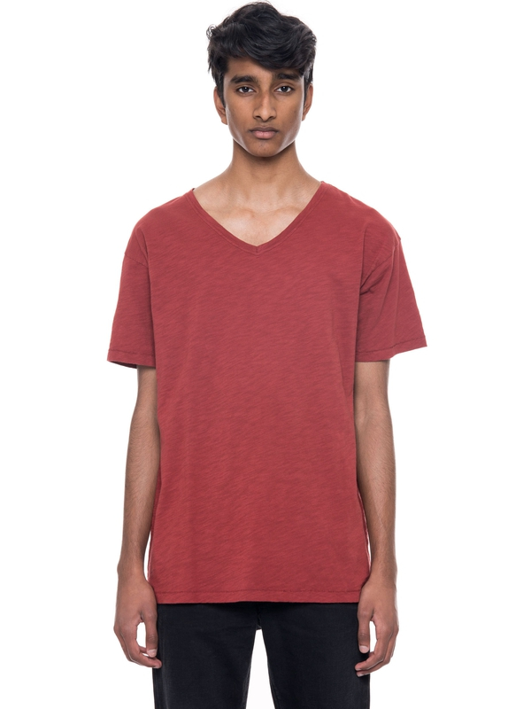 Lasse Loose V-Neck Viking Red short-sleeved tees solid