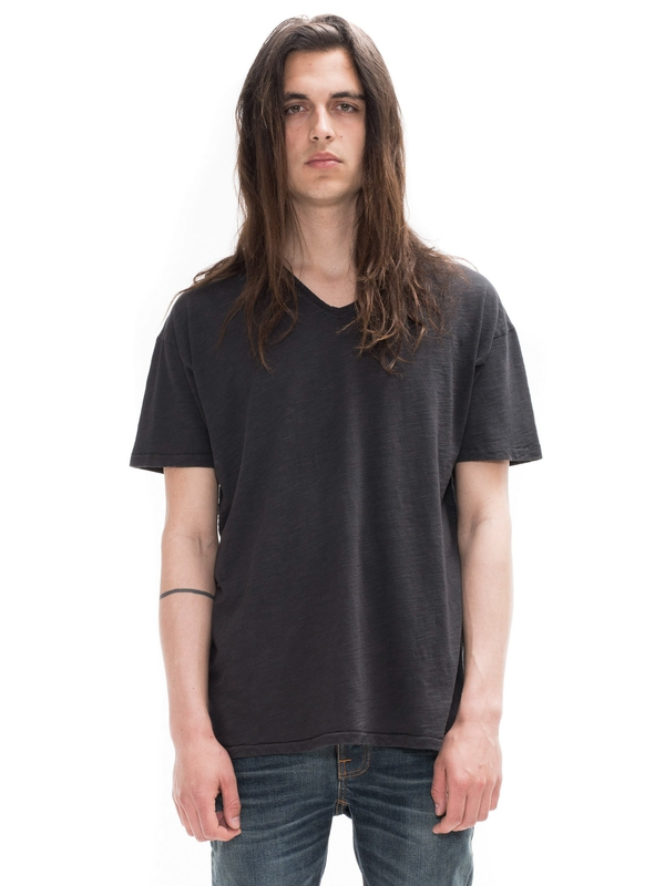 Loose Tee V-Neck Black short-sleeved tees solid