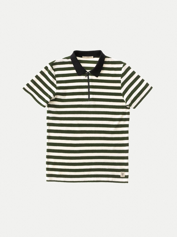 Mikael Block Stripe Zipper Lawn short-sleeved tees printed
