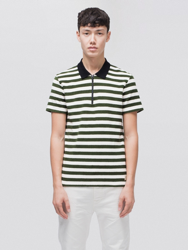 Mikael Block Stripe Zipper short-sleeved tees printed