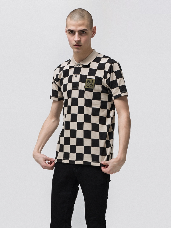 Mikael Checkers Polo Shirt Black/Sand short-sleeved tees printed