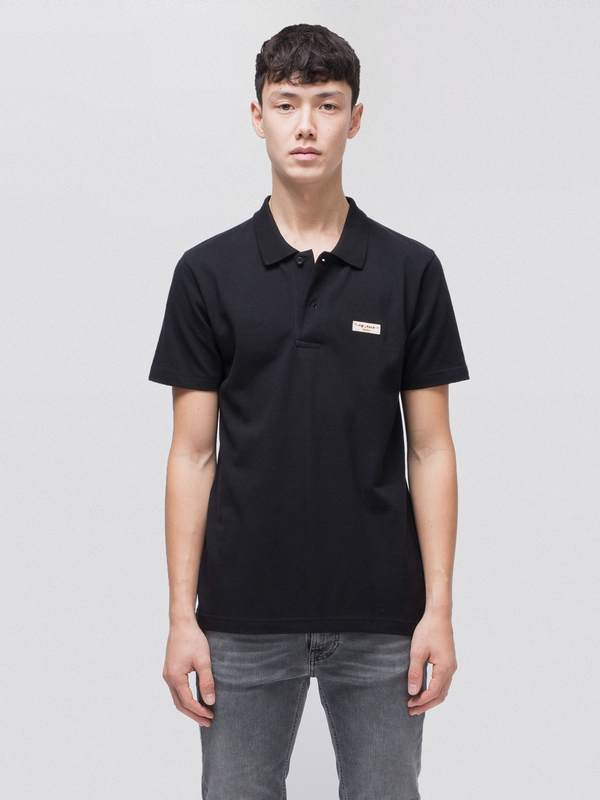Mikael Logo Polo Shirt Black short-sleeved tees solid