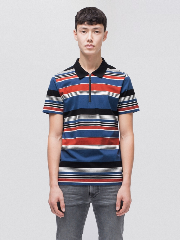 Mikael Multi Stripe Zipper short-sleeved tees