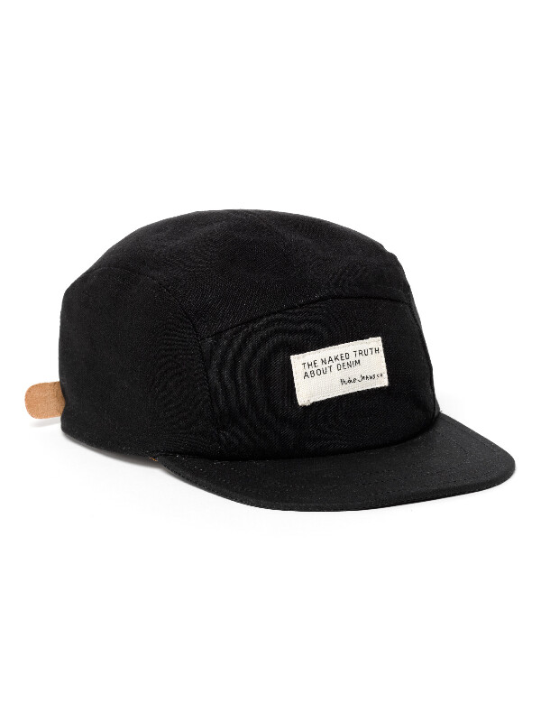 Monty Five Panel Recycled Cap Black hats accessories