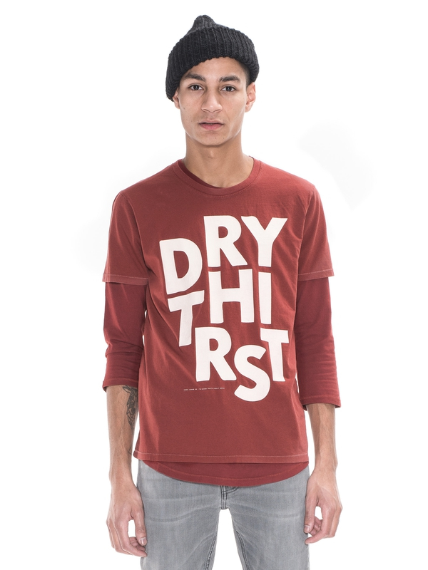O-Neck Tee Dry Thirst Burnt Red short-sleeved tees printed