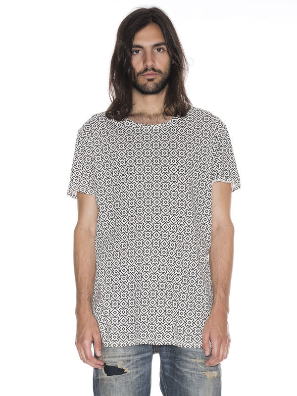 Olle Graphic Allover Black/Beige short-sleeved tees printed
