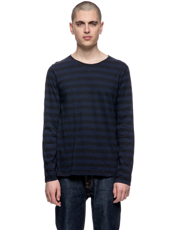 Orvar Block Stripe Navy long-sleeved tees printed