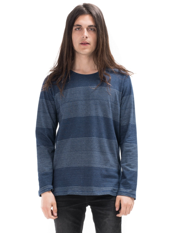 Orvar Indigo Jaquard Mix Indigo long-sleeved tees printed