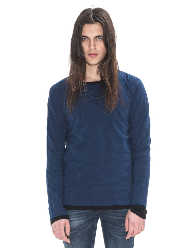 Orvar Lacing Tee Rich Indigo long-sleeved tees solid