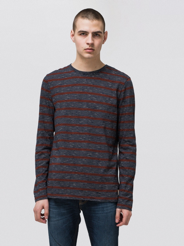 Orvar Mixed Stripe Navy long-sleeved tees