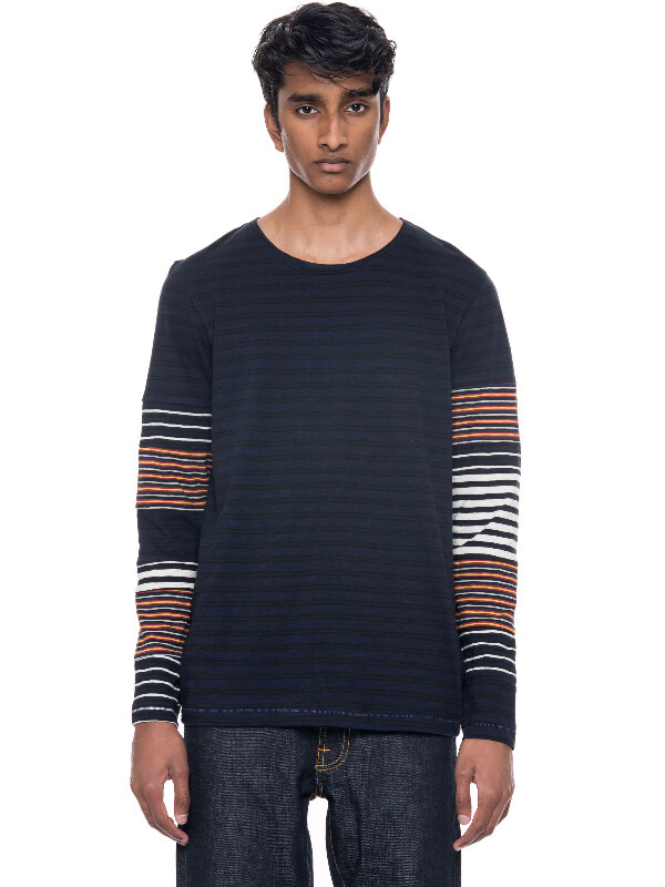 Orvar Patched Stripe Navy/Red/Offwhite long-sleeved tees printed