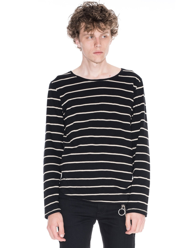 Orvar Stripe Black long-sleeved tees printed