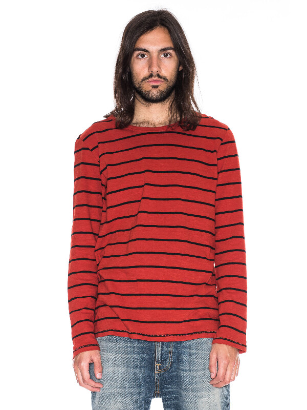 Orvar Stripe Blood Orange long-sleeved tees printed