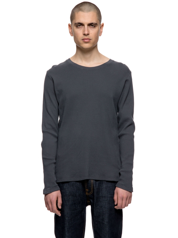 Orvar Waffle Mended Coal long-sleeved tees solid