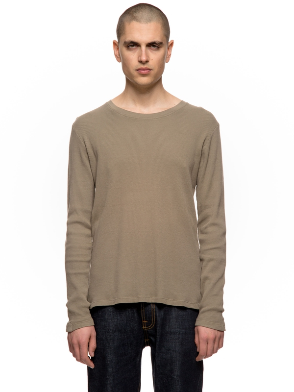 Orvar Waffle Mended Desert Green long-sleeved tees solid