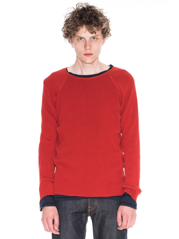 Oskar Mixed Rib Blood Orange knits