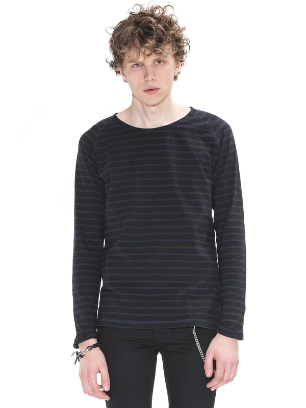 Otto Raglan French Stripe Black/Indigo long-sleeved tees solid printed