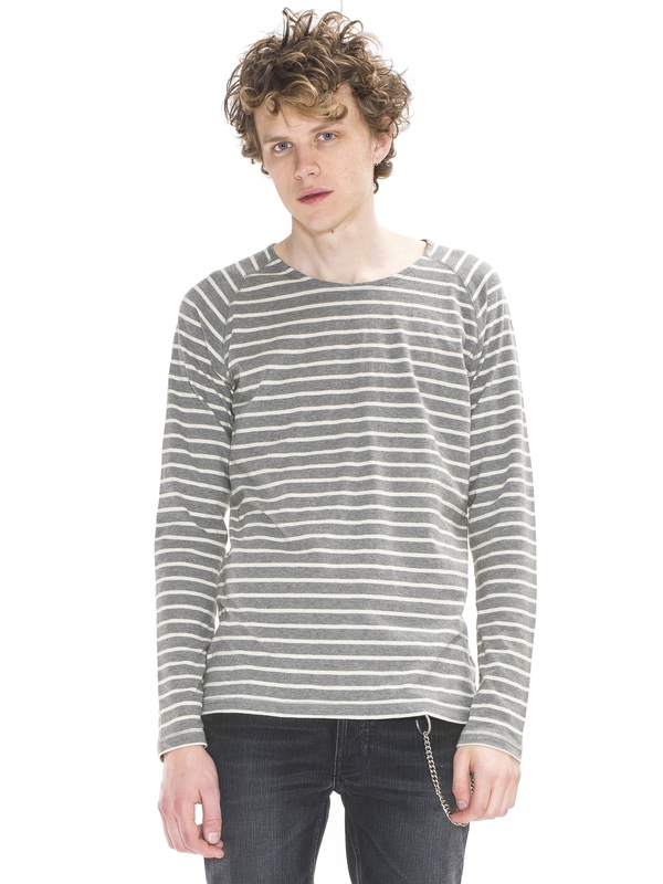 Otto Raglan French Stripe Dk Grey/Offwhite long-sleeved tees printed