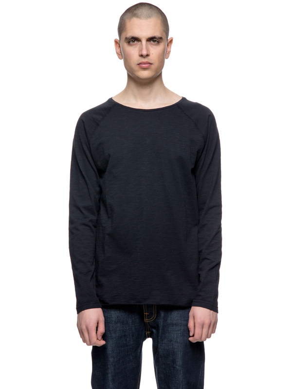 Otto Raw Hem Slub Black long-sleeved tees solid