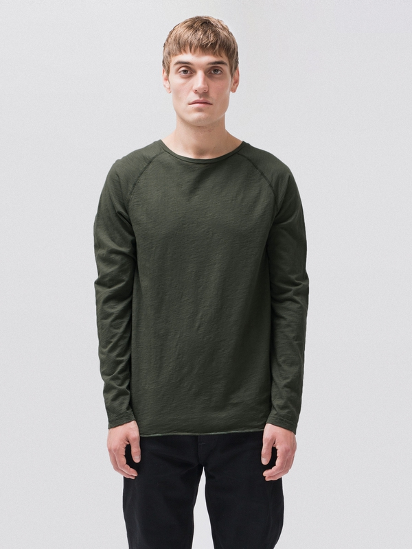 Otto Raw Hem Slub Ivy long-sleeved tees