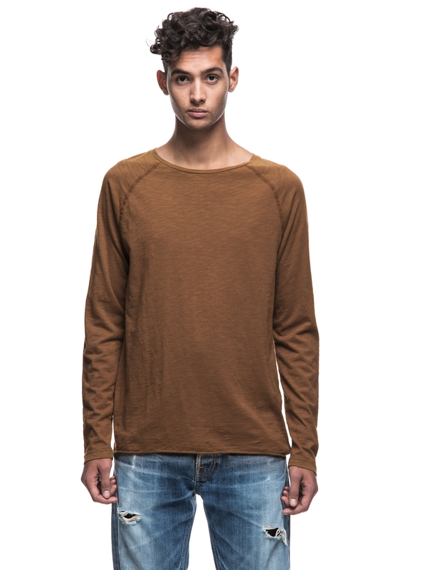 Otto Raw Hem Slub Lion long-sleeved tees solid