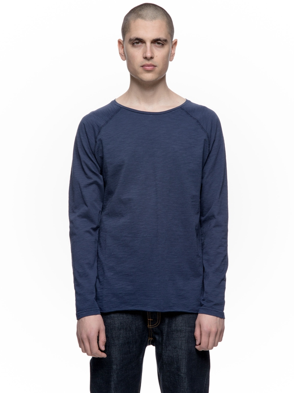 Otto Raw Hem Slub Midnight long-sleeved tees solid