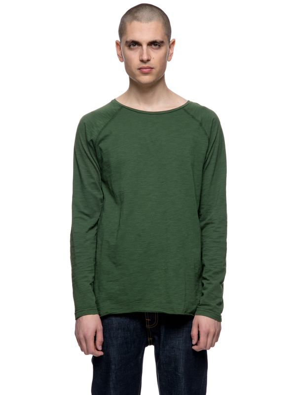 Otto Raw Hem Slub Grass long-sleeved tees solid