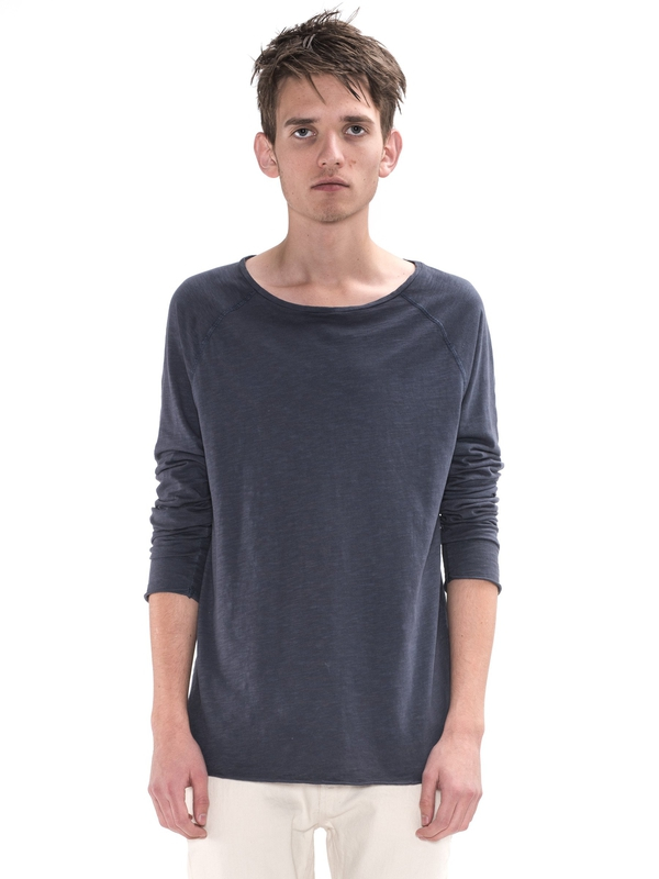 Otto Raw Hem Slub Navy long-sleeved tees solid
