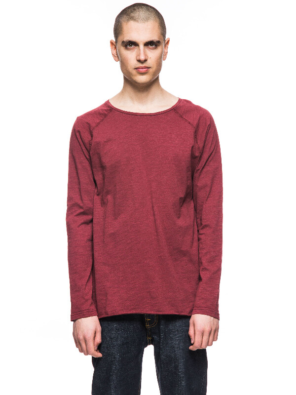 Otto Raw Hem Slub Ruby long-sleeved tees solid