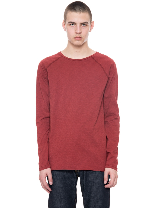 Otto Raw Hem Slub Viking Red long-sleeved tees solid