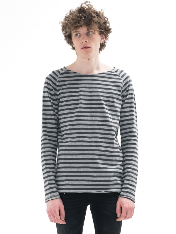 Otto Raw Hem Stripe Greymelange long-sleeved tees printed