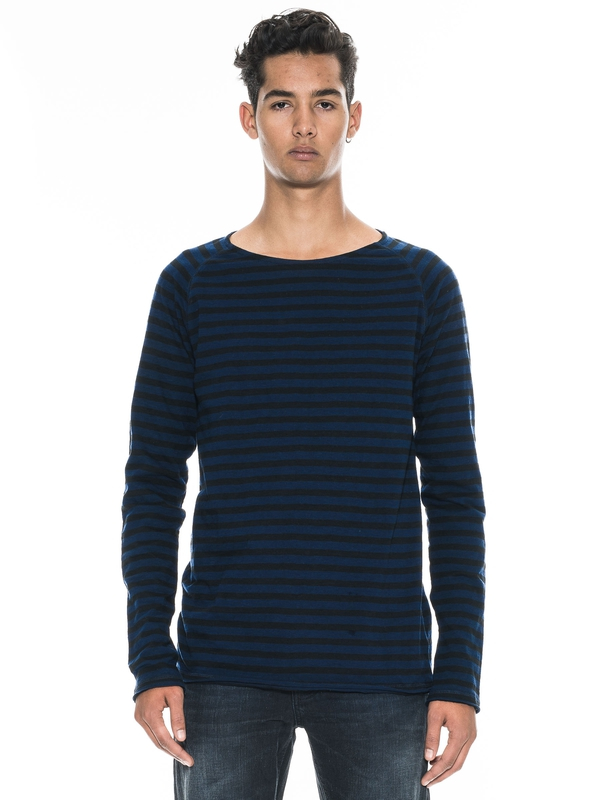 Otto Raw Hem Stripe Midnight long-sleeved tees printed