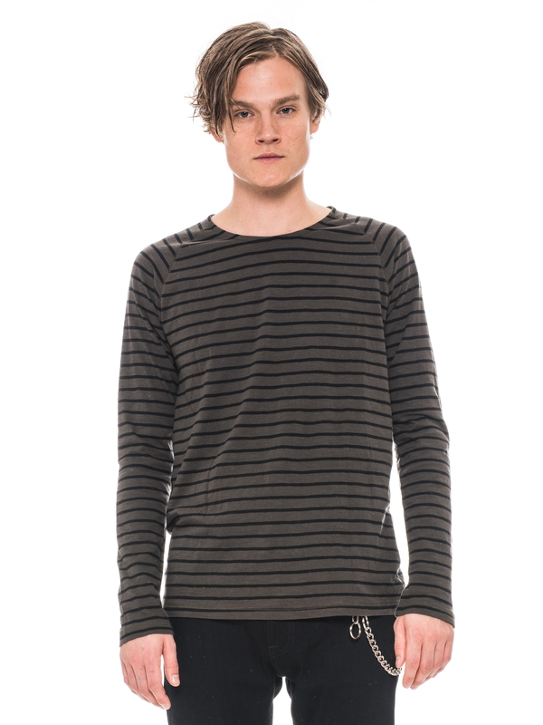 Otto Raglan French Stripe Bunker/Black long-sleeved tees solid printed