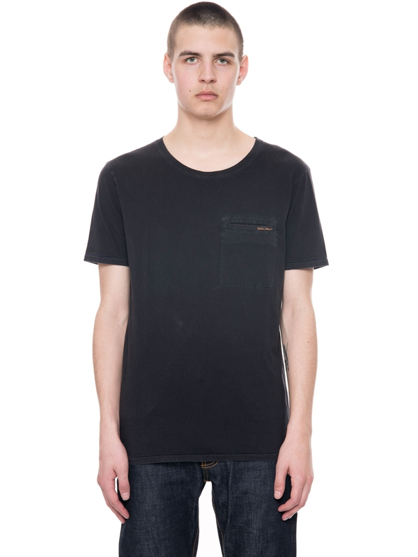 Ove Contrast Stitching Black short-sleeved tees solid