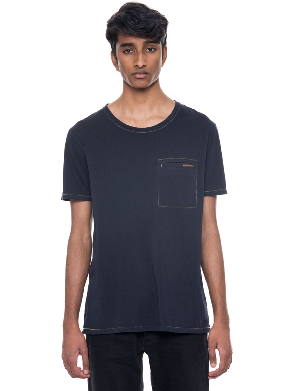 Ove Contrast Stitching Navy short-sleeved tees solid
