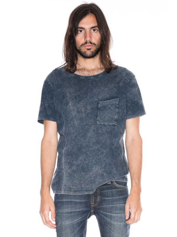 Ove Marble Indigo short-sleeved tees solid printed